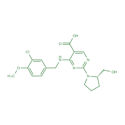 (S)-4-((3-Chloro-4-methoxybenzyl)amino)-2-(2-(hydroxymethyl)pyrrolidin-1-yl)pyrimidine-5-carboxylic acid